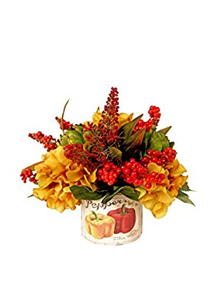 Creative Displays Kitchen Floral with Red Berries, Rust Astilbe, Gold Hydrangeas, & Green Artichoke, Red/Gold