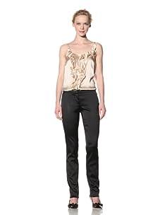 Philosophy di Alberta Ferretti Women's Slim Fit Satin Pant (Black)