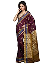 Utsav Fashion Women's Dark Magenta and Olive Green Art Silk Saree with Blouse
