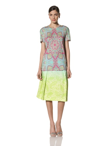 Jonathan Saunders Women's Short Sleeve Paisley Print Tee (Star Multi)