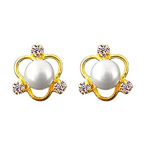 Trendy Souk - Bedazzzled Real Freshwater Hyderabadi Pearls,CZ Studded Earrings Set for Women - White