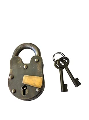 Locks of Love Vintage Inspired Cast Iron Padlock with Brass Accent, c1950s