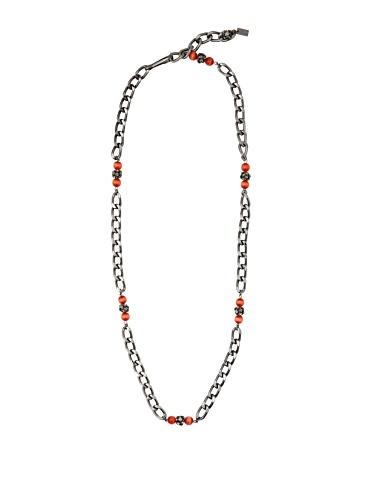 Tuleste Market Marbled Chain Link Necklace, Gunmetal/Coral