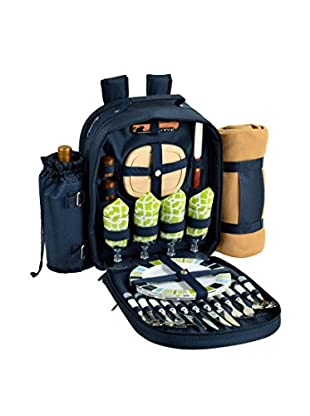 Picnic at Ascot Trellis Green Backpack For 4 with Blanket, Blue