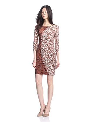 Muse Women's Side Drape Swirl Dress (Brown/Multi)