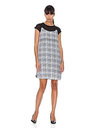 Cortefiel Vestido Print (Blanco / Negro)