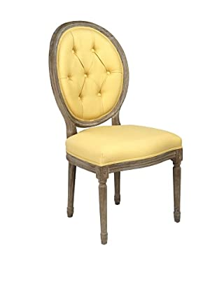 Zentique Tufted Medallion Linen & Oak Side Chair, Yellow/Brown