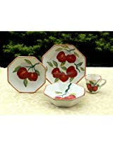 Tuscany Red Apple with Bamboo Trim Hand Painted,16pcs Dinnerware Set, 84316 by ACK
