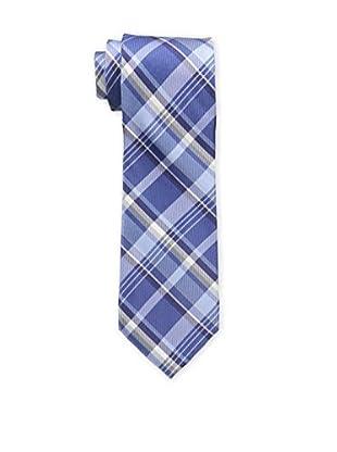 Bruno Piattelli Men's Plaid Silk Tie, Blue