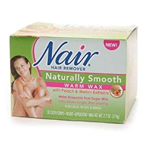 Nair Hair Removal Kit, Microwave Wax for Legs, Body, and Bikini Area, Fresh Peach Melon 7.7 Oz.  (Pack of 2)