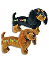 "Get Well Plush 12"" Black Dachshund Dog Gift For Hospitalized Child Or Adult Weiner Speedy Recovery Sick Or Ill"