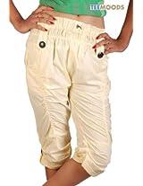TeeMoods Women's Cotton Swanky Capri(TM-7363_Fiery Yellow_Large)