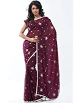 Deep Cordovan Brown Faux Georgette Embroidered Saree in large size