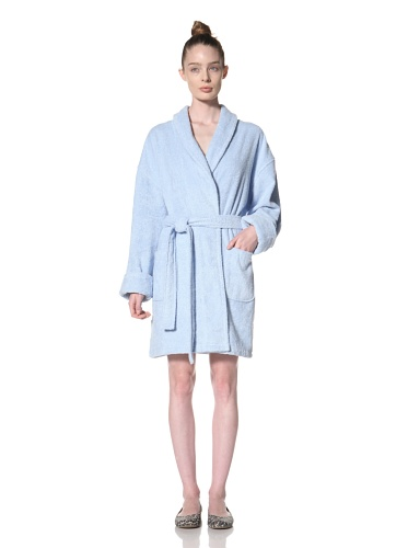 Aegean Apparel Women's Zero Twist Terry Loop Robe (Light Blue)