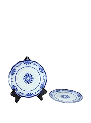 Pair of Flow Blue Lorne Dessert Plates, Blue/White