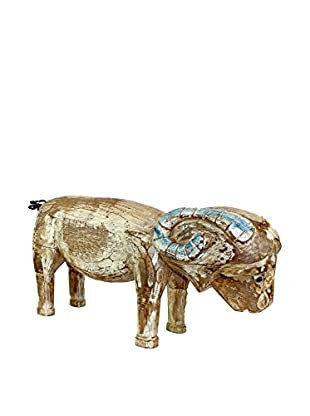 Asian Loft Carved Wooden Goat