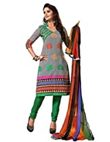 FadAttire Embroidered Chanderi Regular Dress Material-Grey-FADC10