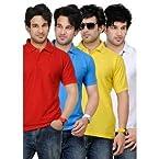 TSX LightBlue, Red, Yellow & White Collar T-Shirt Combo