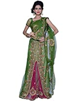 Olive-drab Green and Deep Cerise Pink Net Party Lehenga Style Saree
