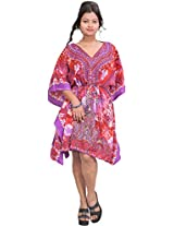 Exotic India Floral Printed Short Kaftan with Dori at Waist - Color Purple And RedGarment Size Free Size