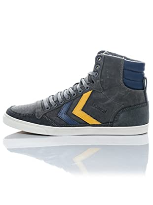 Hummel Zapatillas Abotinadas Ten Star Oiled High Unisex (Gris/Amarillo/Azul)