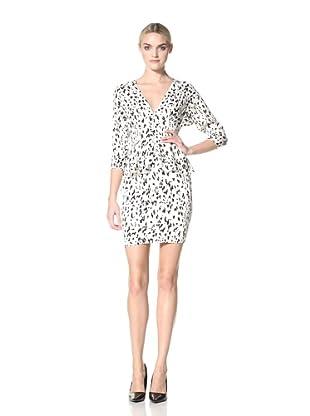 Catherine Malandrino Women's Elbow Length Sleeve Dress with Peplum (Snow Leopard Print)