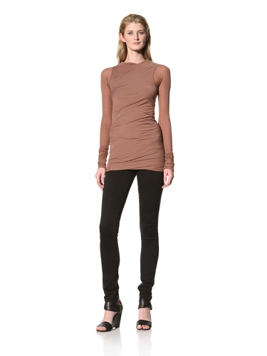 RICK OWENS Women's Long Sleeve Boat Neck Top (Eileengray)