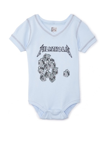 Lil Jokester Baby Milkaholic Short Sleeve Bodysuit (V-Neck Blue)