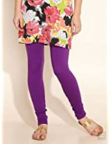Cotton Knit Churidar-Purple-L