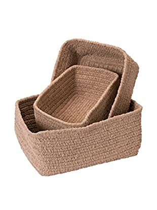 Colonial Mills Set of 3 No-Scratch Chenille Nesting Baskets, Sand