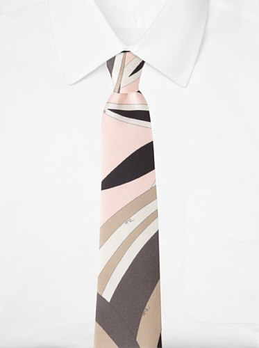 Emilio Pucci Men's Abstract Floral Tie, Peach/Taupe