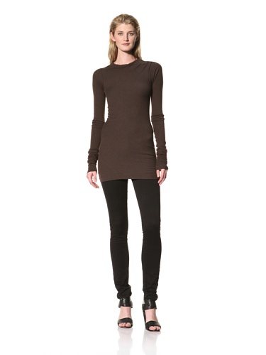 RICK OWENS Women's Long Sleeve Boatneck Top (Bitter)