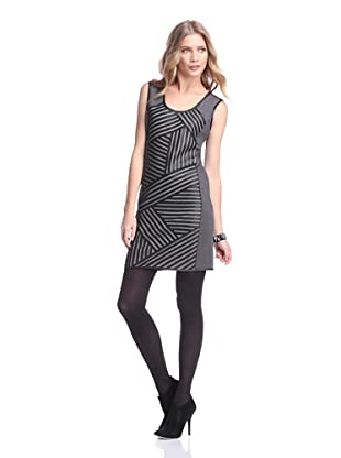 Bagatelle City Women's Ponte Dress with Leather Trim (Charcoal/Grey)