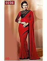 Winza Chiffon Saree (Netfancyblousered _Red)