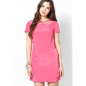 Tickle Me Pinkashift Dress & Sheer Cut Out Collar