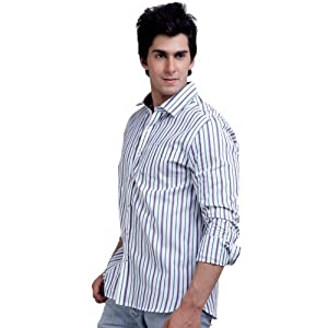 Scullers White Full Sleeves Cotton Men - Casual Shirts