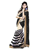 Vibes Women's Georgette Saree, With Blouse (S52-11005_Black)