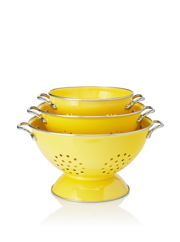 Reston Lloyd Set of 3 Powder Coated Colanders (Lemon)