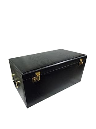 Morelle & Co. Elizabeth Large Leather Illuminated Jewelry Box, Black