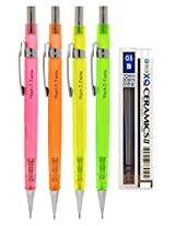 eMicro Flash Jedo Mechanical Pencil M104 Bundle with Lead Refill, 0.5mm, Assorted Colors (4-Pack)