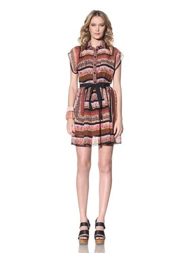 Anna Sui Women's Floral Scarf Print Dress (Cocoa Multi)