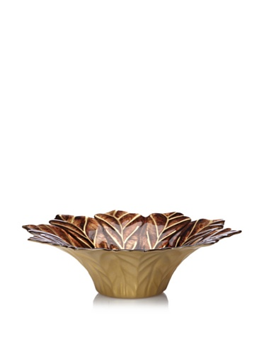 Calegaro Italy Tall Leaves Centerpiece (Brown/Gold)