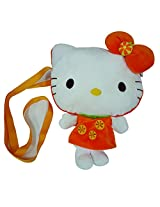Hello Kitty Shoulder Plush Bag - Orange, Orange/White