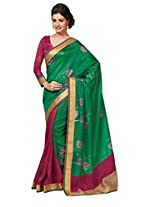 Green Pink Color Art Bhagalpur Silk Saree with Blouse 11320