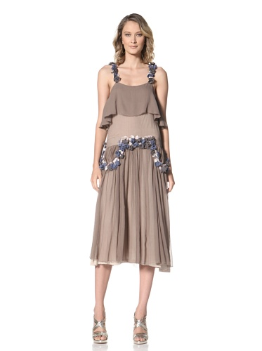 Just Cavalli Women's Long Dress with Flowers (Taupe)