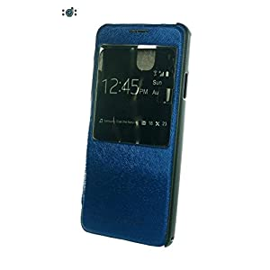 Samsung Galaxy Note 3 Leather Designer Flip Cover with Caller ID Window and Stand - Dark Royal Blue