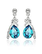 Ananth Jewels Swarovski Crystal Gift for Valentine Wife Girlfriend Tear Drop Blue Earrings for Women