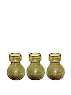 HomArt Set of 3 Recycled Glass Bulb Vases (Amber)