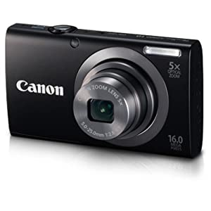 Canon PowerShot A2300 16MP Point and Shoot Camera (Black) with 5x Optical Zoom, Memory Card and Camera Case