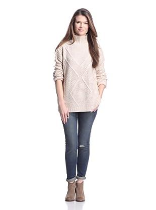 525 America Women's Mock Turtleneck Sweater (Winter White Combo)